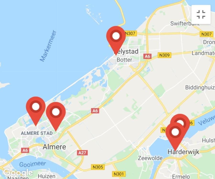 Kaart coronatest-lelystad.com - Coronatest locaties Harderwijk